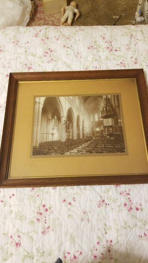 Pending FREE VINTAGE OLD PHOTO OF Church. Really neat Glass framed for Sale in Everett, WA