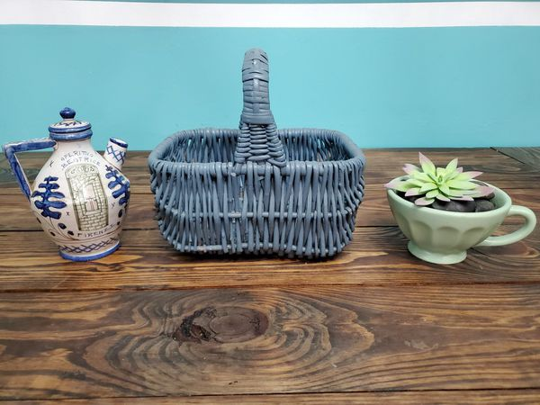 Faux Succulent, Basket, and Pottery