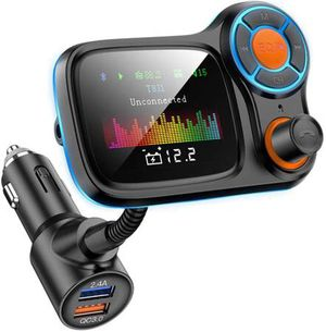 """FM Transmitter Car Bluetooth 5.0 Wireless in-Car FM Radio Adapter QC3.0&5V/2.4A Charger 1.77"""" TFT Color Screen/Car Battery Reading/TF Card/U Disk/4 M for Sale in La Verne, CA"""
