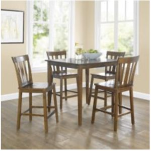 Firm!!! Mainstays 5-Piece Mission Counter-Height Dining Set CHERRY for Sale in Atlanta, GA