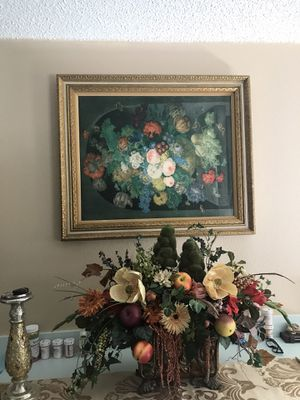 Big paint picture with gold frame big gold vase with flowers 2 gold candles for Sale in Trinity, FL
