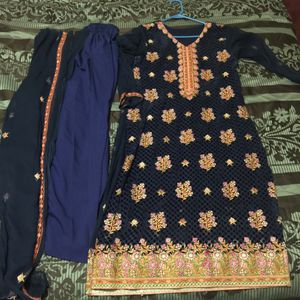 "Pakistani Indian Shalwar Kameez Dress Outfit fancy eid party wedding dress bust size 38"" palachi navy blue for Sale in Silver Spring, MD"