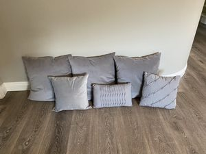 Grey assorted pillows - 6 total for Sale in Corona, CA