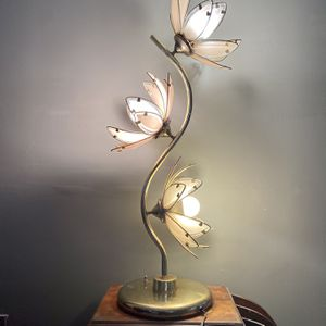 "Vintage Tall Pink Glass Lotus Table Lamp. Height 37"" for Sale in Berea, OH"