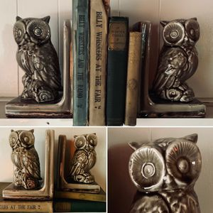 Vintage Mid Century Glazed Ceramic Owl Bookends Circa 1970s for Sale in Portland, OR