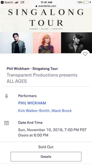 Phil Wickham and Kim Walker-Smith - 2 tickets for Sale in Irvine, CA