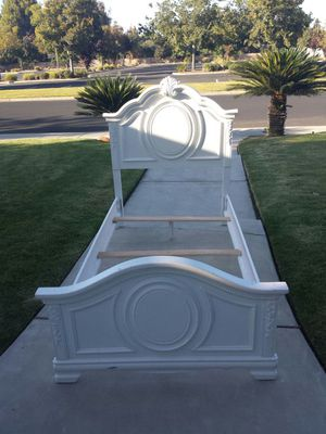 Carved Beautiful White Twin Size Bed Frame for Sale in Clovis, CA