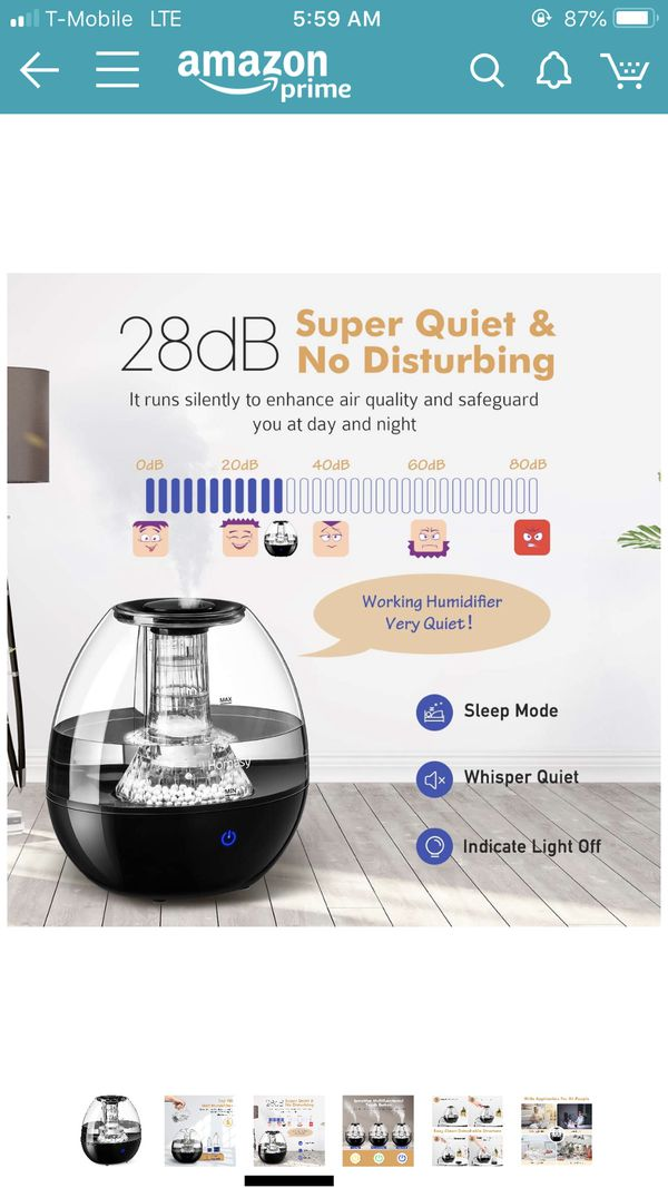 Humidifier w/Filter Impurities Stone-Ultrasonic Cool Mist Humidifier for Baby room, w/Quiet Operation & Auto Shut-Off Protection(Top-Refill Design)