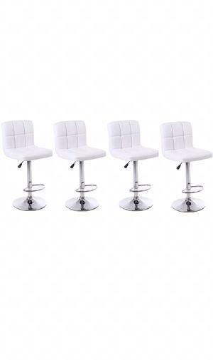 Bar stool, set of four modern white swivel barstools, adjustable modern furniture for Sale in Maricopa, AZ