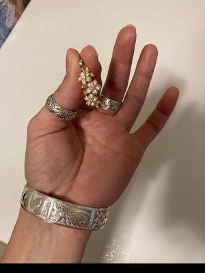 Silver Gold Cz Plumeria Pendant Hawaii for Sale in Gladstone, OR