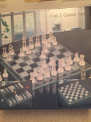 Chess/Checkers/Backgammon Glass Game Set for Sale in Duluth, GA