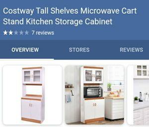 Costway tall shelves microwave cart stand kitchen storage cabinet for Sale in Bakersfield, CA
