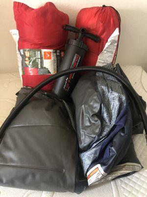 2 sleeping bags 2 air mattress 1 pump for Sale in San Diego, CA
