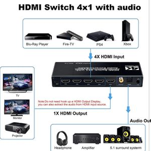 avedio links 4K HDMI Switch Audio Extractor 4K@60Hz, HDMI Multi Port Switch with Remote, 4 Port 4x1 HDMI Switch Box 4 in 1 out, HDMI Selector Switch w for Sale in Lakewood, CA