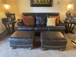 Leather couch with hide-abed and two ottomans and pillows for Sale in Lakeside, AZ