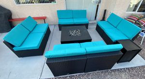 Gorgeous 11 piece wicker/rattan outdoor patio set furniture BRAND NEW WITH LARGE GAS FIRE PIT 🔥🔥🔥 FREE DELIVERY WITHIN 5 MILES 👍 for Sale in Las Vegas, NV