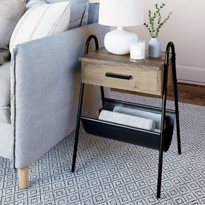 Nightstand Accent Rustic Wood Table with Drawer, Gray/Black for Sale in Addison, TX