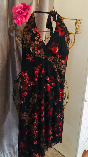 Misses Halter SeXY STRETCH designer dress black with red flowers New backless slip on high low size small for Sale in Northfield, OH