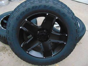 New 20X9 Matte Black Mamba Rims 275 60 20 Goodyear A/T Tires *5X5.5* for Sale in Aurora, CO