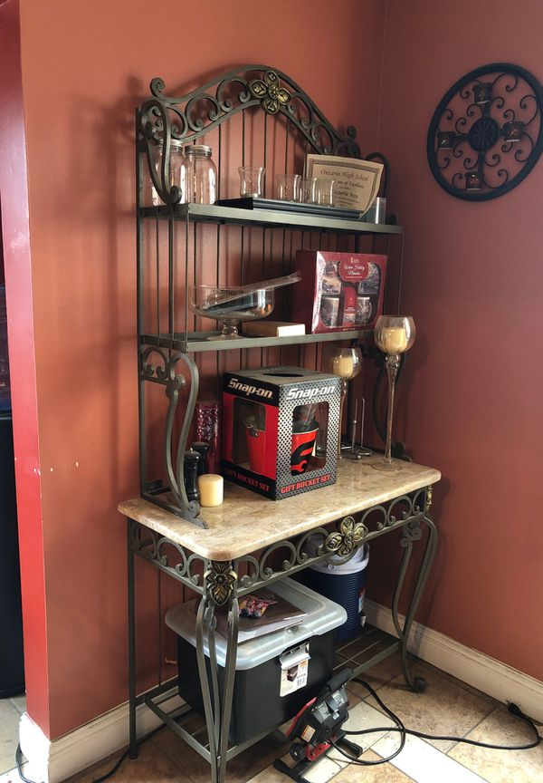 glass top kitchen table and matching bakers rack for sale