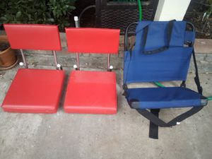 Padded stadium chairs for the hard bench seats at games. for Sale in Modesto, CA