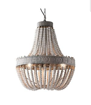 Wood Beaded Chandelier Pendant Three Lights for Sale in Rialto, CA