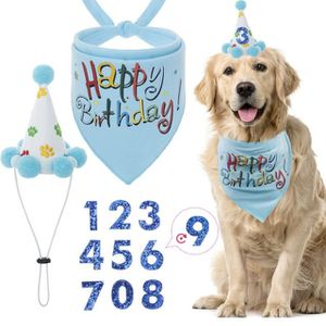 Dog Birthday Boy Bandana Set Happy Birthday Dog Accessories Lovely Bandana and Cute Birthday Hat for Dog Birthday Party Wearing for Sale in Ontario, CA