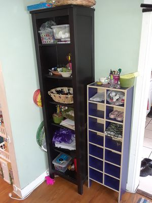 Small blue cubed shelf & Brown bookcase for Sale in Los Angeles, CA