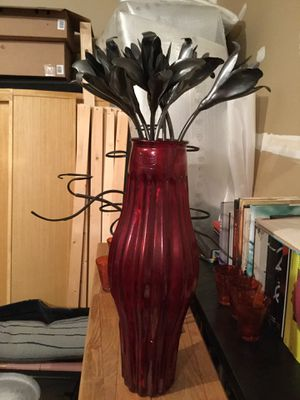 Red vase with metal flowers for Sale in Sterling, VA