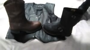 Harley Davidson Engineer Boots, Double HH Western Cowboy Work boots, Leather Vest! for Sale in Washington, PA