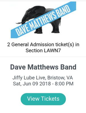 Dave Matthews Band Lawn tickets for Sale in Round Hill, VA