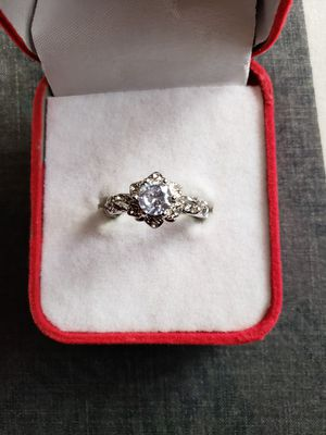 Exquisite white sapphire diamond ring women 925 silver gemstone bridal engagement wedding jewelry anniversary gift ring size 8 for Sale in Moreno Valley, CA