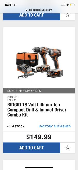 RIDGID 18 Lithium-Ion compact drool & impact driver combo kit for Sale in Pittsburgh, PA