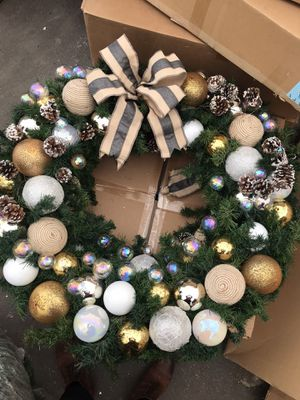 Hand crafted 48 inch Christmas wreath with ornaments for Sale in Anaheim, CA