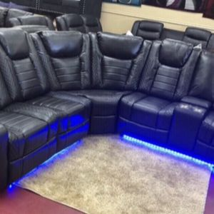 Living room sectional leather LED furniture finance available down payment $39 1456 belt line rd suite 121 Garland tx 75044 Open from 9:30-8:30 for Sale in Garland, TX