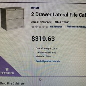 2 Drawer Lateral File Cabinet Light Grey New In Box With Lock And Keys for Sale in Irvine, CA