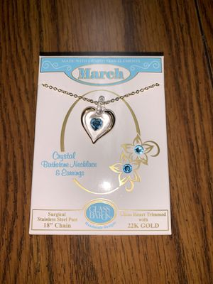 Brand new still in the box March stainless steel post 18 chain 22k gold glass heart trimmed I payed 22 asking 15 necklace and earring set for Sale in Murfreesboro, TN