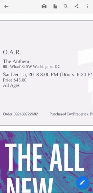 2 Tickets for O.A.R. tonight for Sale in Sully Station, VA