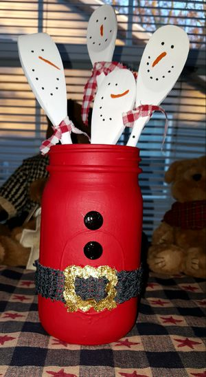 Handmade xmas santa jar with snowman painted spoons for Sale in West Lafayette, IN