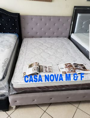 BRAND NEW BED FRAME QUEEN COMES IN BOX WITH EURO PILLOW TOP MATTRESS INCLUDED $300🔊🔊🔊🔊AVAILABLE FOR SAME DAY DELIVERY OR PICK UP for Sale in Compton, CA