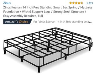 Zinus Keenan 14in Free Standing Smart Box Spring W/Support Legs Full Size for Sale in Canal Winchester, OH