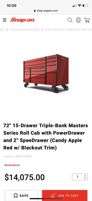"SnapOn 72"" Master Series with Top Drawer Cabinet for Sale in Duluth, GA"