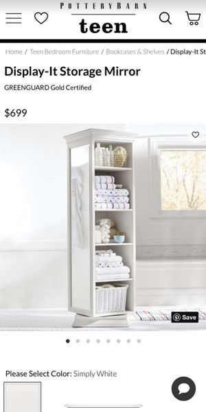 Pottery Barn White Display-It Storage Mirror/Chest/Bookcase for Sale in San Diego, CA