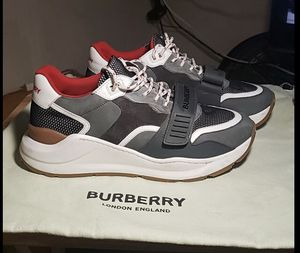 BURBERRY Regis Low-Top Grey /Red Sneakers Shoes Size 9. EURO 41 -clean Worn Once for Sale in San Diego, CA
