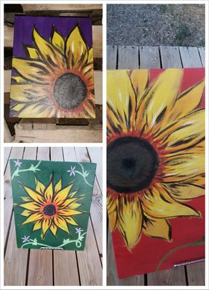Trio of Sunflowers Original Paintings for Sale in Delta, CO