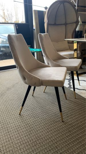 2pc heavy duty Velvet dining chairs with black and gold legs for Sale in VA, US
