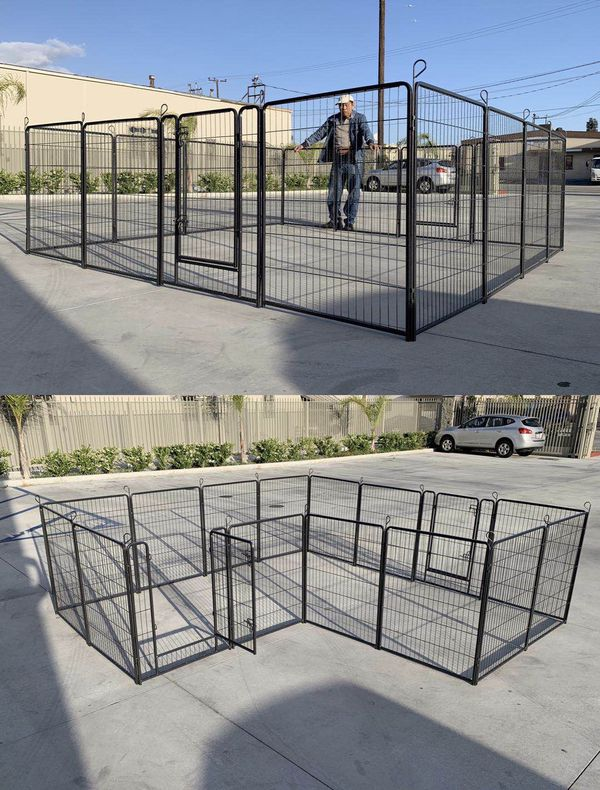 New in box 40 inch tall x 32 inches wide each panel x 16 panels exercise playpen fence safety gate dog cage crate kennel perrera cerca