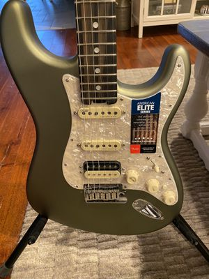 Products Fender American Elite Stratocaster HSS Shawbucker Ebony Fingerboard Electric Guitar Olympic Pearl for Sale in Middletown, NJ