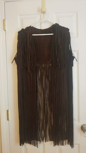 Fringed leather vest for Sale in Newton, MA