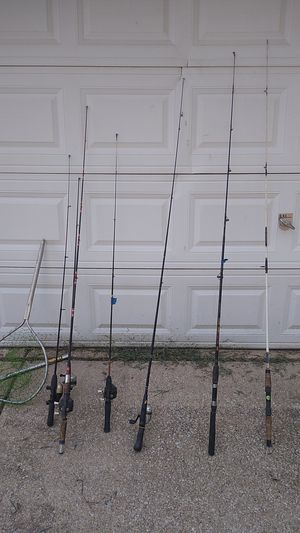 7 fishing poles and 3 fish nets for Sale in Lacon, IL